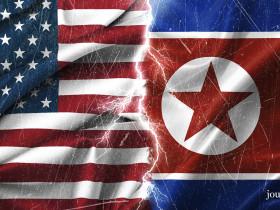 Flag of North Korea and US, silk texture